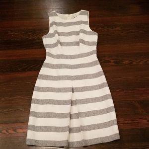NWOT JCrew Navy/Gray Striped Dress w/ Front Pleat